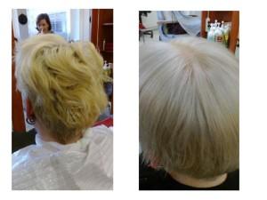 Ennen ja jälkeen :) hiuksiin laitettiin vielä microloopeilla pidennykset. Näinkin lyhyeen tukkaan saa pidennykset ja eivät olleet yhtään hassumman näköiset :)