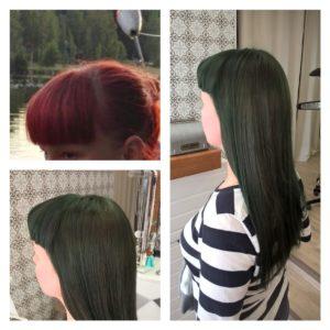 Tässä tukassa lähtötilanne oli kovinkin punainen tukka josta asiakas toivoi sammaleenvihreää. Tein vaalennuspesun ja iskin päälle Id Hair Inkin Green-värin. Lopputulos oli onnistunut vaikka pelko ruskeasta tukasta aluksi pelottikin.